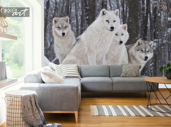 Salon avec Papier Peint Loups