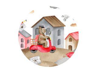watercolor seamless border bears postmen in the city