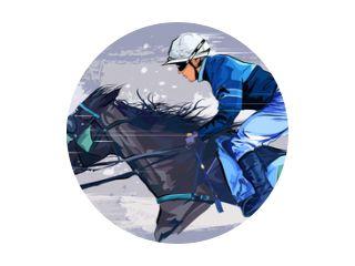 Horse with jockey on grunge backround