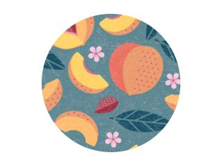 Peaches seamless pattern. Whole and sliced peaches with leaves and flowers on shabby background. Original simple flat illustration. Shabby style.