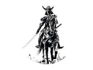 Samourai with sword on a horse