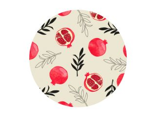 Seamless pomegranate pattern. Vector watercolor illustration with fruits and branches