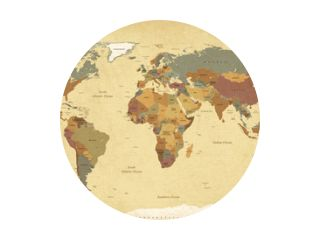 Textured vintage world map - English/US Labels - Vector CMYK