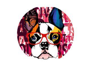 Portrait of french bulldog wearing sunglasses