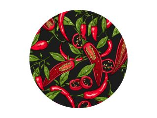 Seamless hand drawn pattern with mexican hot pepper chili, slices, halves, crushed pieces and branch. Natural background for textiles, banner, wrapping paper and other and designs. Vector illustration