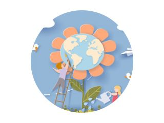 Children caring for the Earth flower with blue sky background. Save the planet card. Vector illustration. Paper cut and craft style.